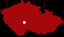 Mapa ČR s vyznačením městyse Malšice
